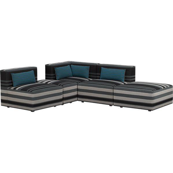 Savino Stripe 5-Piece Sectional Sofa