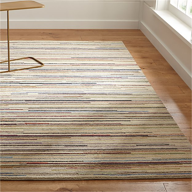 Savoy Cream Striped Hand Knotted Wool Rug Crate And Barrel