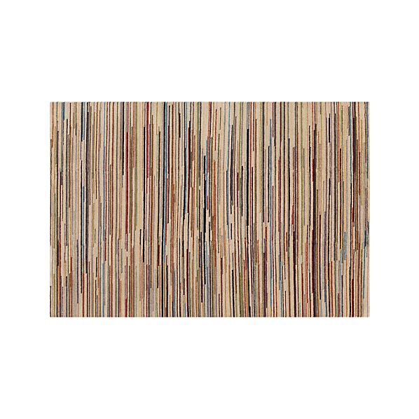 Savoy Cream Striped Hand Knotted Wool 6'x9' Rug