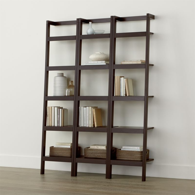 Sawyer Mocha Leaning 18 Bookcases Set Of Three Reviews Crate And Barrel