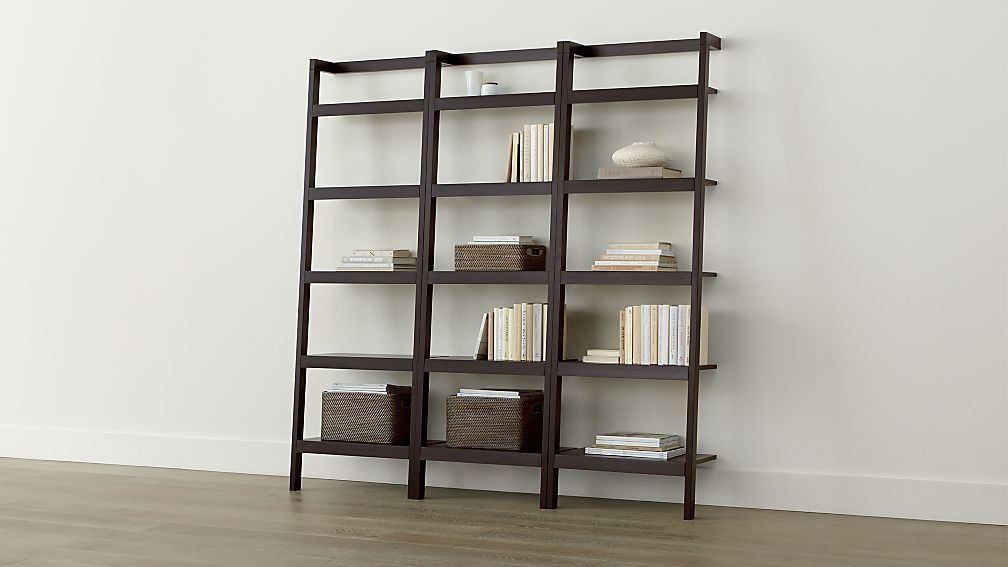 Sawyer Mocha Leaning 24 5 Bookcases Set Of Three Reviews Crate And Barrel