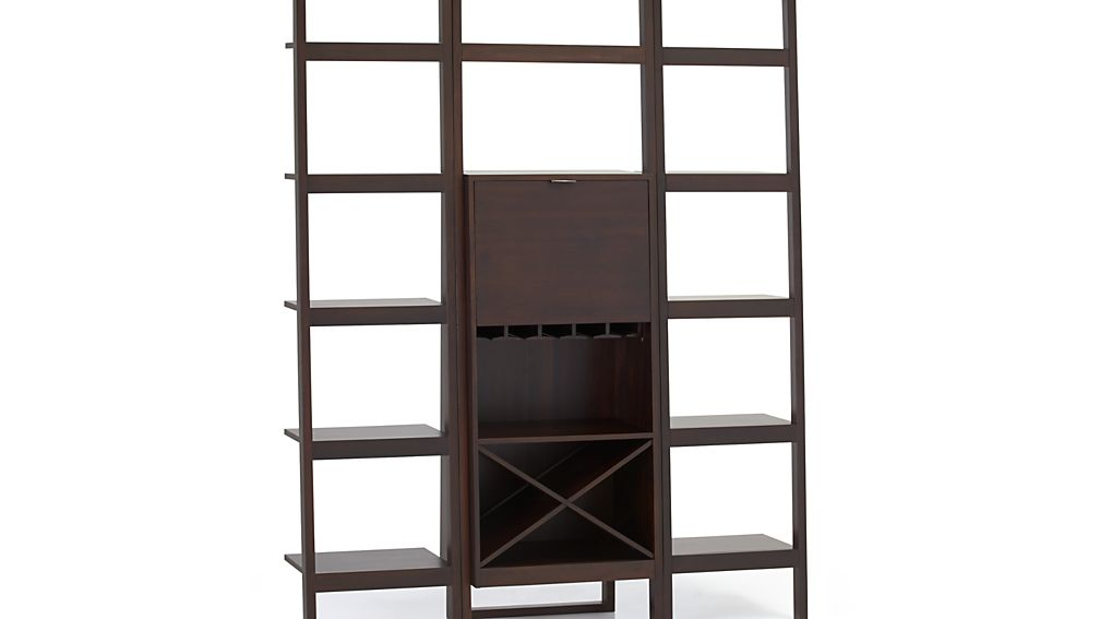 Sawyer Mocha Leaning Wine Bar With Two 18 Bookcases