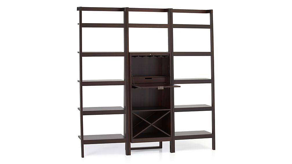 Sawyer Mocha Leaning Wine Bar with Two 24.5'' Bookcases