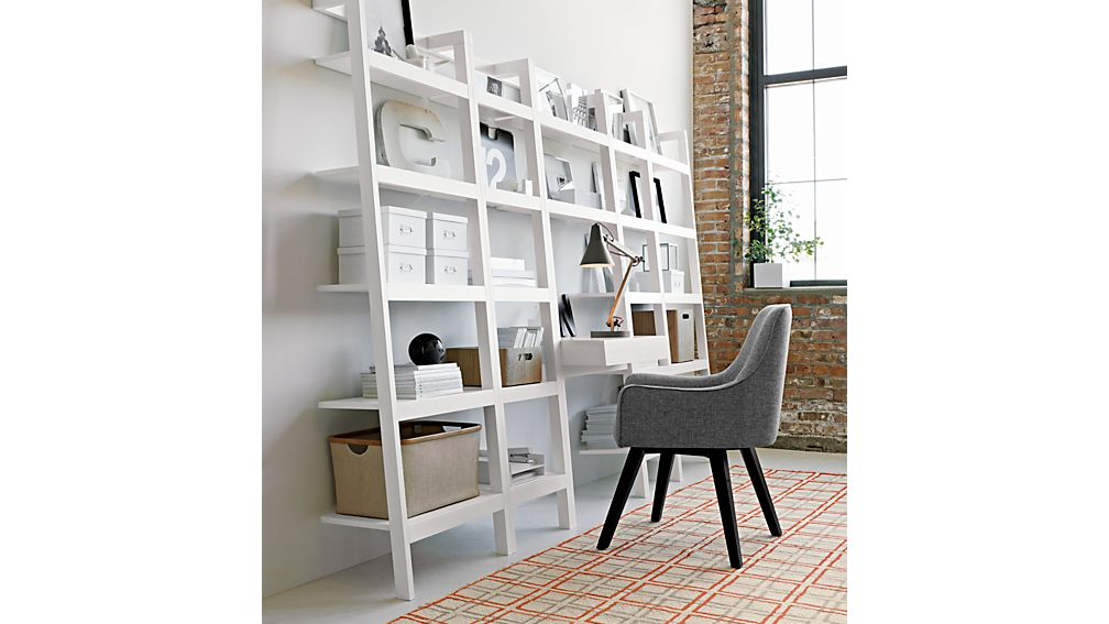 sawyer white leaning 18 bookcase crate and barrel. Black Bedroom Furniture Sets. Home Design Ideas