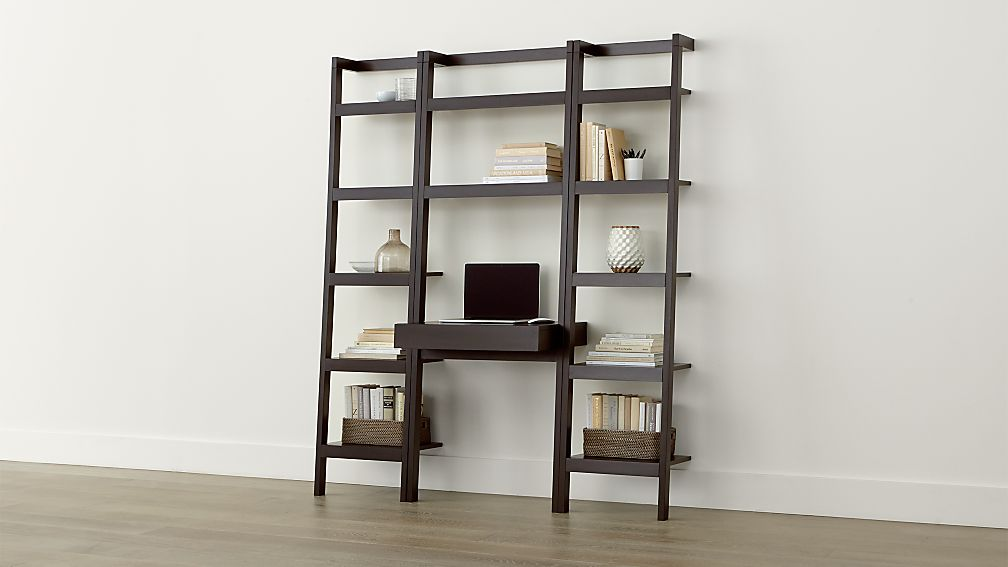 Sawyer Mocha Leaning Desk With Two 18 Bookcases Reviews Crate And Barrel