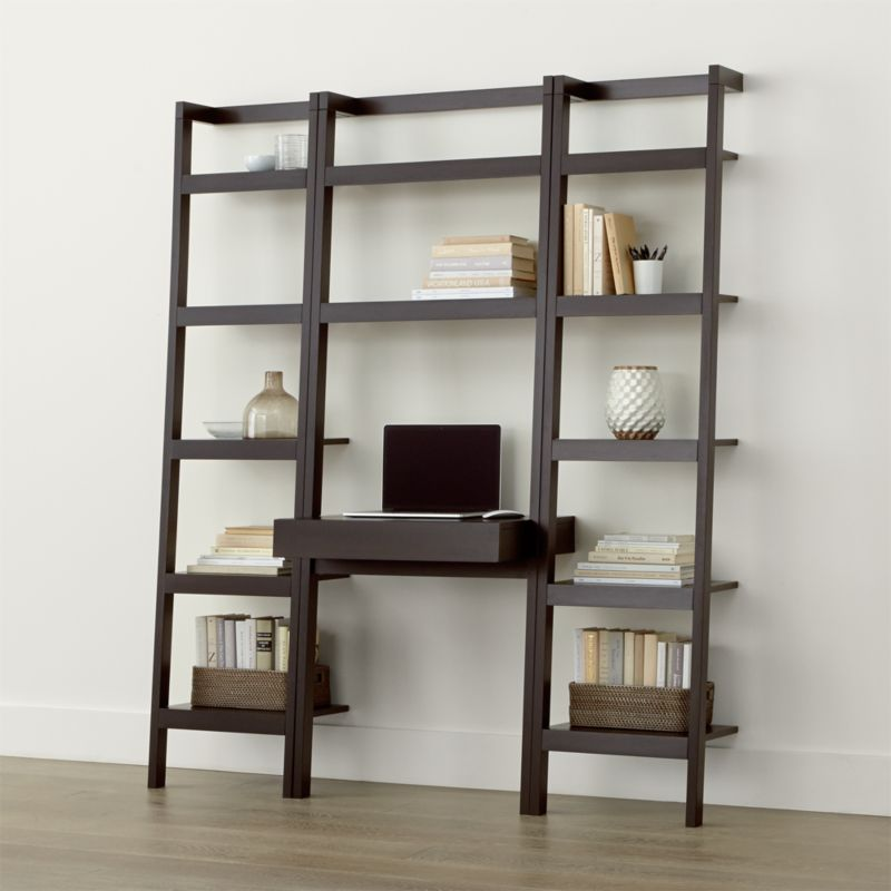 Sawyer Mocha Leaning Desk With Two 18 Quot Bookcases Reviews