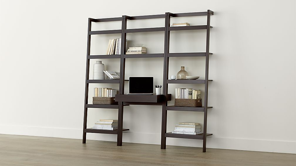 Sawyer Mocha Leaning Desk With Two 24 5 Bookcases In Desks Reviews Crate And Barrel