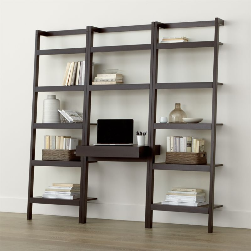 sawyer mocha leaning desk with two 245 bookcases - Large Bookshelves