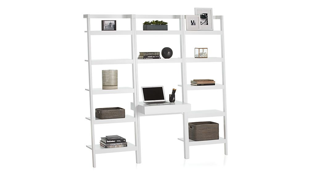 """Sawyer White Leaning Desk with Two 24.5"""" Bookcases"""