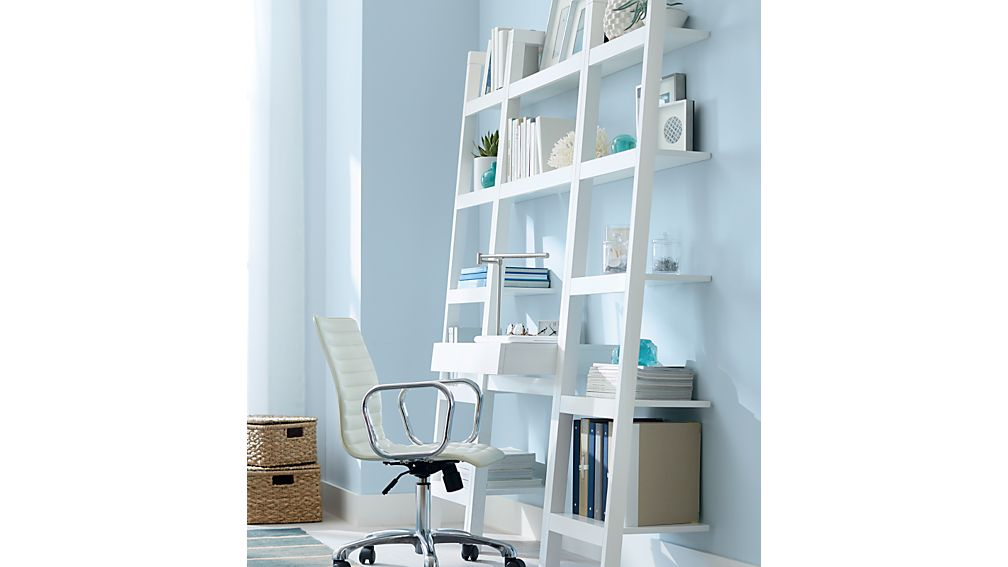 "Sawyer White Leaning Desk with Two 18"" Bookcases"