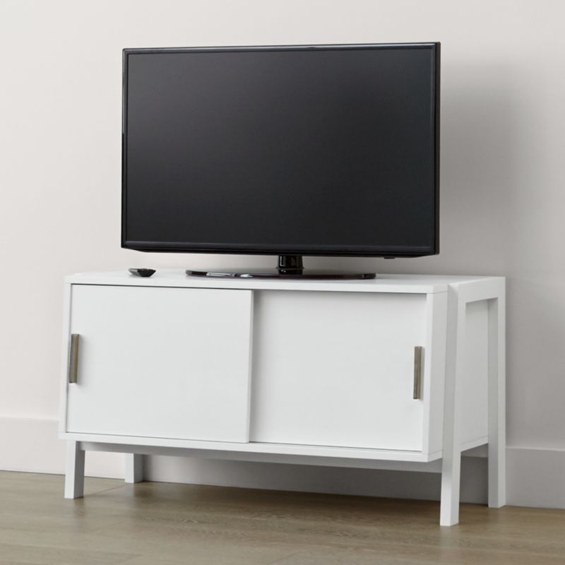 Sawyer low white media stand in tv stands media consoles White media console