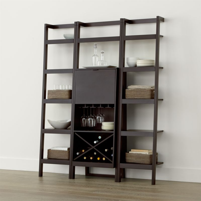 Sawyer Mocha Leaning Wine Bar With Two 18 Bookcases In Cabinets Carts Reviews Crate And Barrel