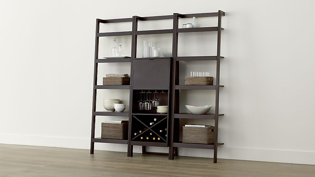 Sawyer Mocha Leaning Wine Bar With Two 24 5 Bookcases In Cabinets Carts Reviews Crate And Barrel