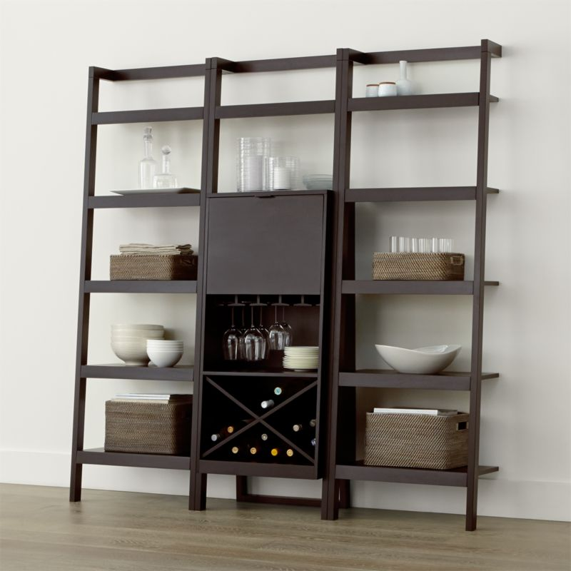 sawyer mocha leaning wine bar with two bookcases