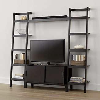 Sawyer Mocha Media Stand with Media Shelf and Two 18'' Bookcases