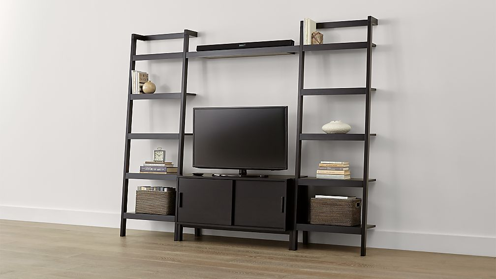 Sawyer Mocha Media Stand With Shelf And Two 24 5 Bookcases Reviews Crate Barrel