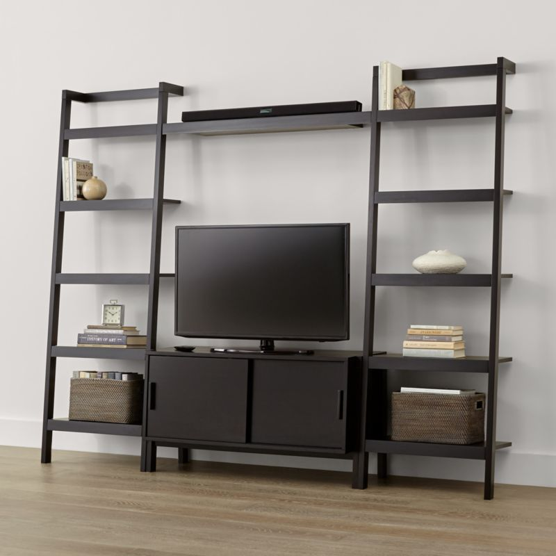 Sawyer Mocha Media Stand with Media Shelf and Two 24.5'' Bookcases   Crate  and Barrel - Sawyer Mocha Media Stand With Media Shelf And Two 24.5'' Bookcases