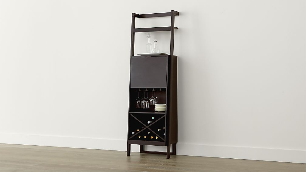Sawyer Mocha Leaning Wine Bar In Cabinets Carts Reviews Crate And Barrel