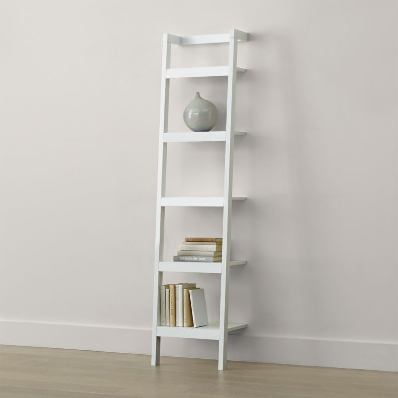 Sawyer White Leaning 18 Quot Bookcase Reviews Crate And Barrel