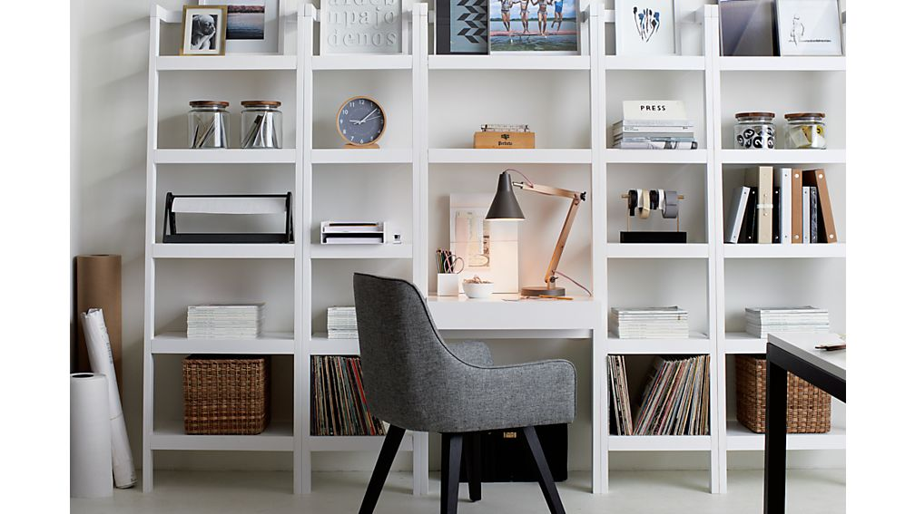 "Sawyer White Leaning Desk with Two 24.5"" Bookcases"