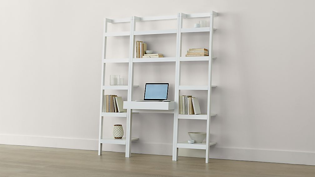 Sawyer White Leaning Desk with Two 18 Bookcases Crate and Barrel