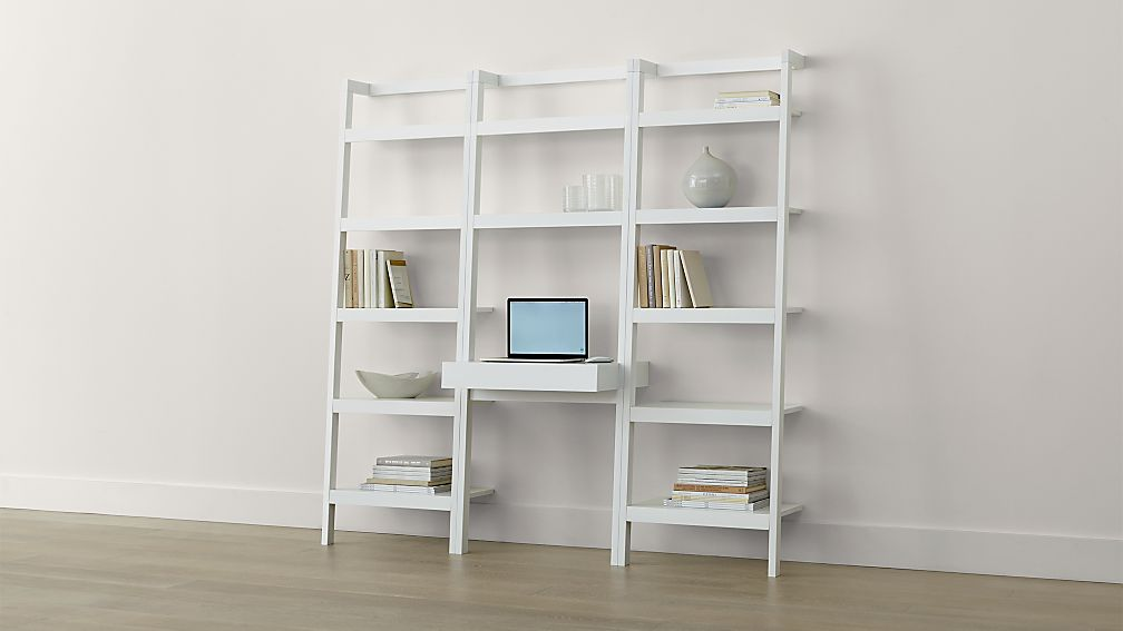 Sawyer White Leaning Desk with Two 245 Bookcases Crate and Barrel