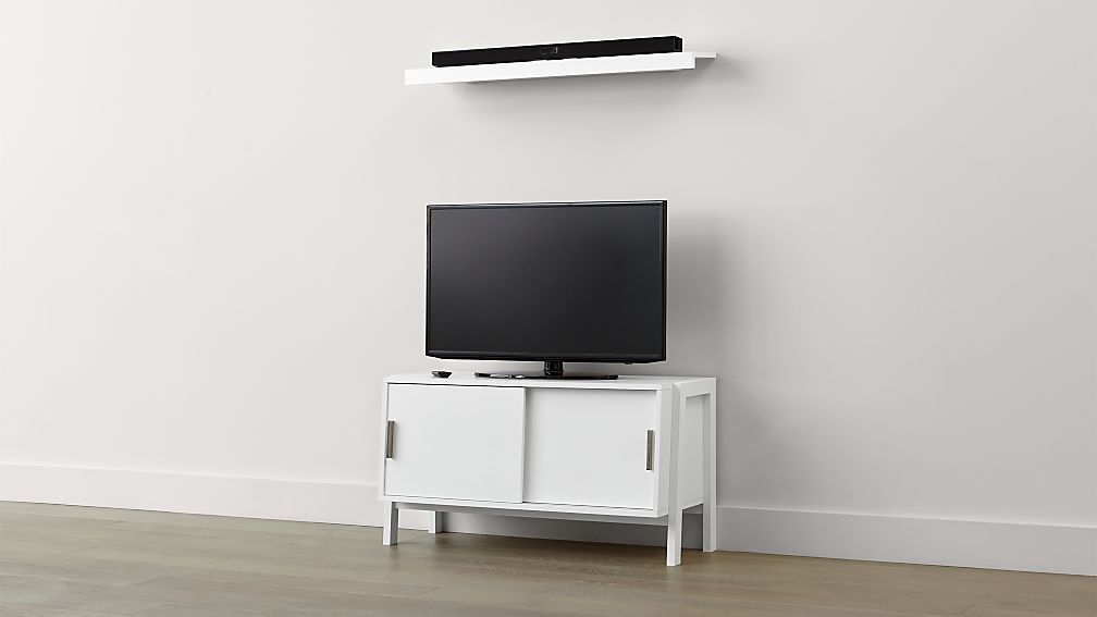 Sawyer Low White Media Stand With Media Shelf Crate And