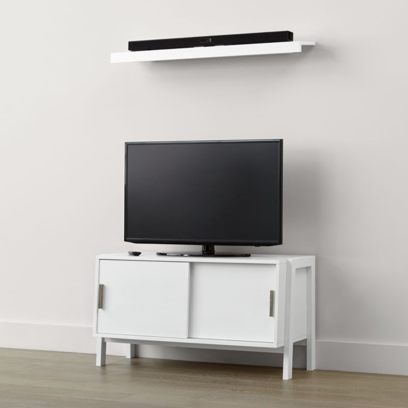 Sawyer Low White Media Stand With Media Shelf + Reviews | Crate And Barrel