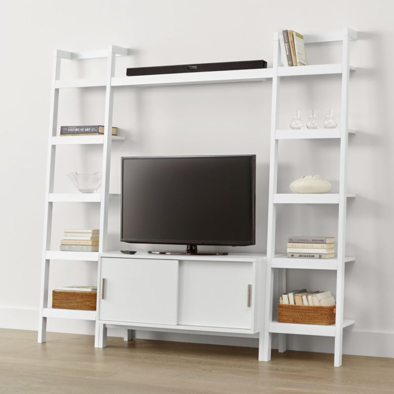 Sawyer White Media Stand With Media Shelf And Two 18 Bookcases
