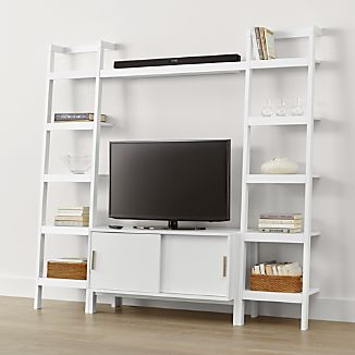 Sawyer White Media Stand with Media Shelf and Two 18'' Bookcases
