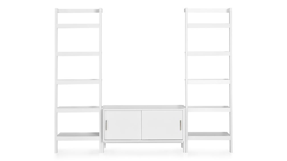 Sawyer White Media Stand with Media Shelf and Two 24.5'' Bookcases