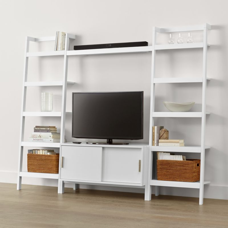 sawyer white media stand with media shelf and two bookcases