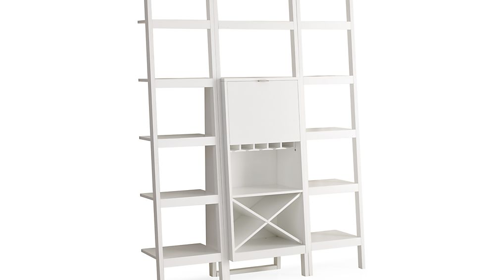 """Sawyer White Leaning Wine Bar with Two 18"""" Bookcases"""
