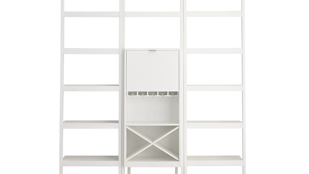 """Sawyer White Leaning Wine Bar with Two 24.5"""" Bookcases"""