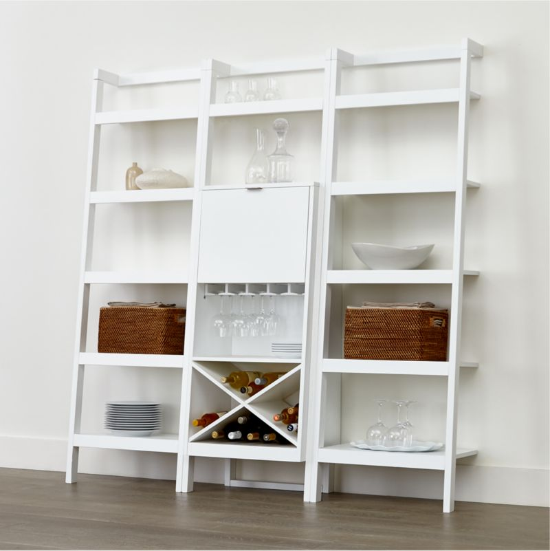Sawyer White Leaning Wine Bar With Two 245 Bookcases