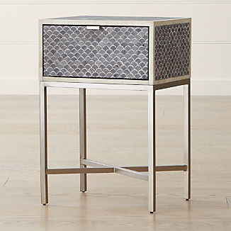 Scallop Grey Bone Inlay Nightstand
