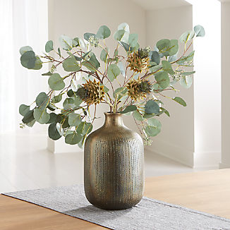 Faux Eucalyptus and Thistle Arrangement