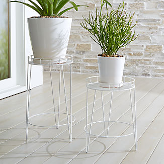 Scroll White Metal Plant Stands