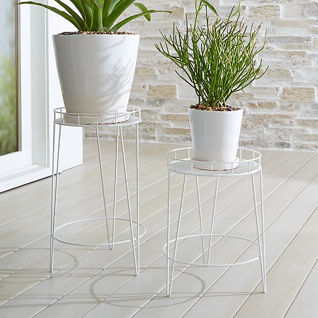 Scroll White Metal Plant Stands - Image 1 of 3