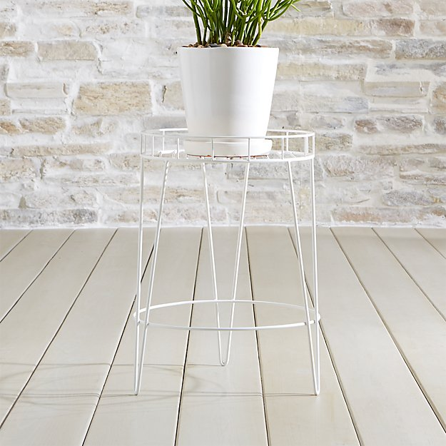 Scroll Medium White Metal Plant Stand - Image 1 of 3