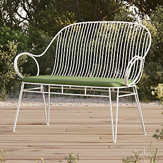 Scroll White Metal Outdoor Bench with Cilantro Sunbrella ® Cushion