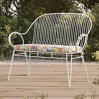 Scroll White Metal Outdoor Bench with Tropic Inside Out ® Cushion