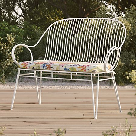 Groovy Scroll White Metal Outdoor Bench With Tropic Inside Out Cushion Ncnpc Chair Design For Home Ncnpcorg
