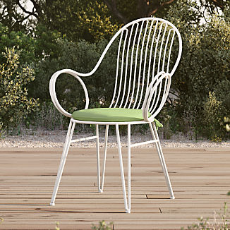Scroll White Metal Outdoor Dining Chair with Cilantro Sunbrella ® Cushion