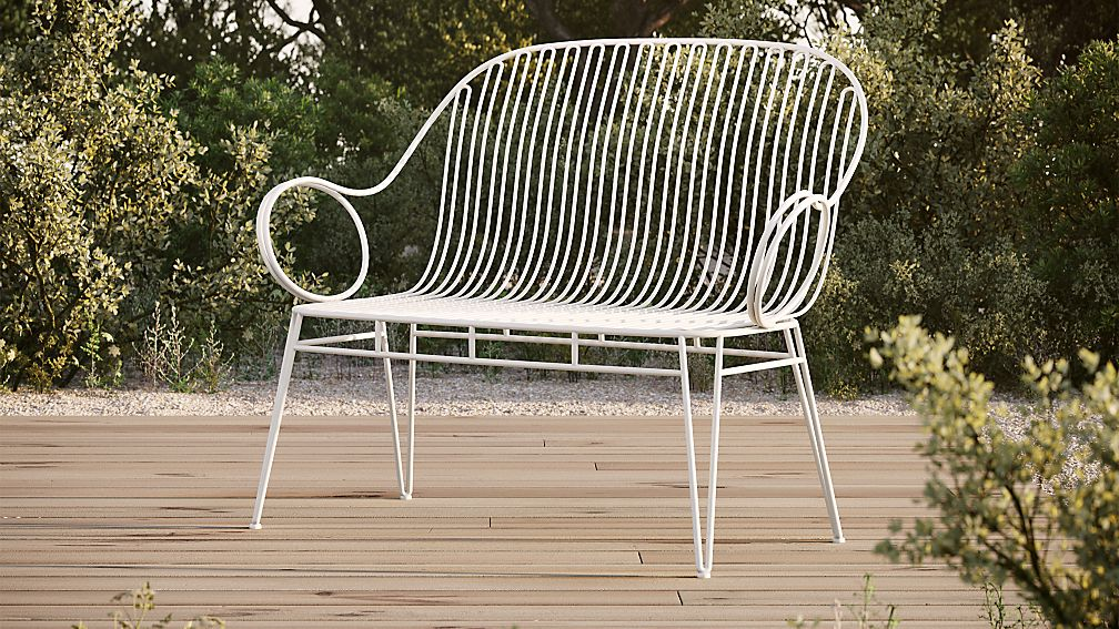 Scroll White Metal Outdoor Bench - Image 1 of 3