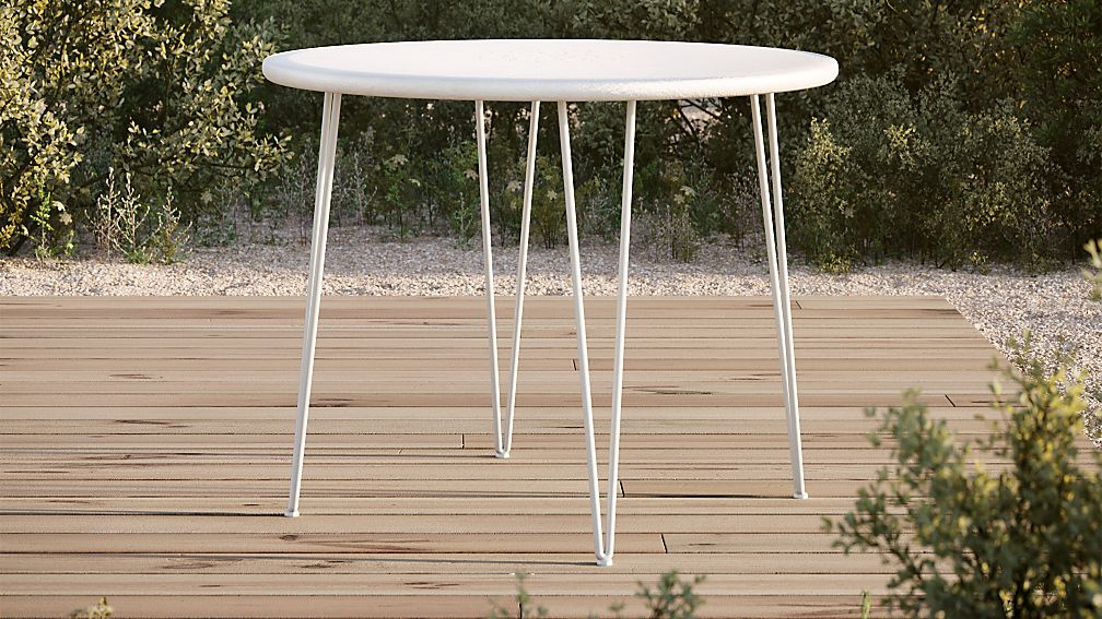 Scroll White Metal Outdoor Bistro Table - Image 1 of 5