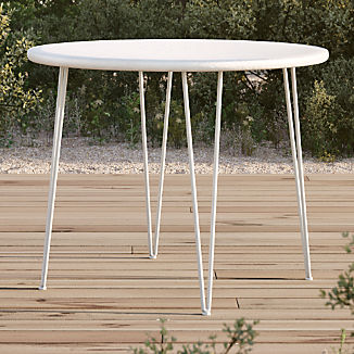 Scroll White Metal Outdoor Bistro Table