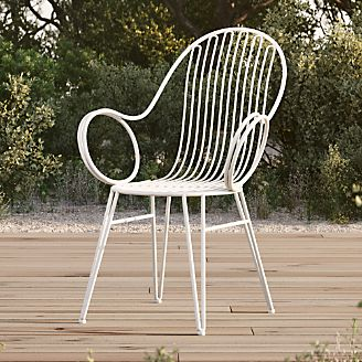 White iron outdoor furniture Salterini Scroll White Metal Outdoor Dining Chair Crate And Barrel Outdoor Metal Furniture Crate And Barrel