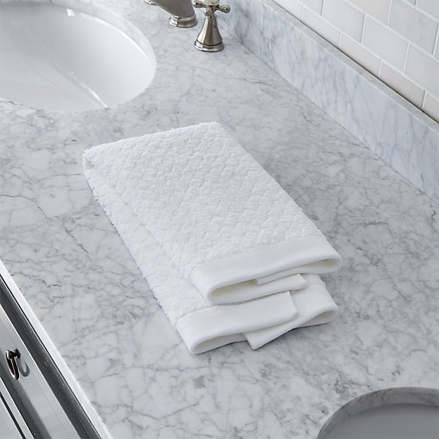 Sculpted Organic White Hand Towel - Image 1 of 4