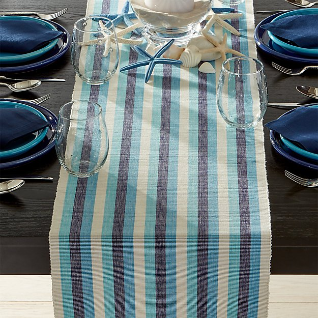 Seaside blue striped 120 table runner crate and barrel for 120 table runners